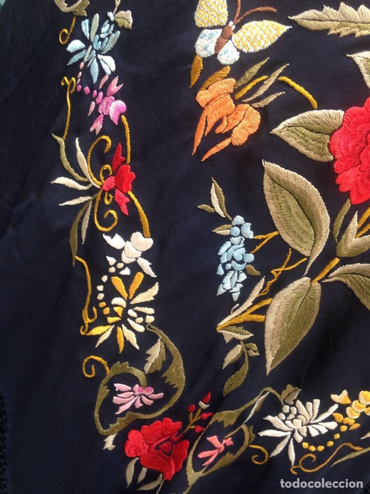 Antigüedades: Manton de Manila años 30, art-deco, bordado a mano - Foto 6 - 99433047