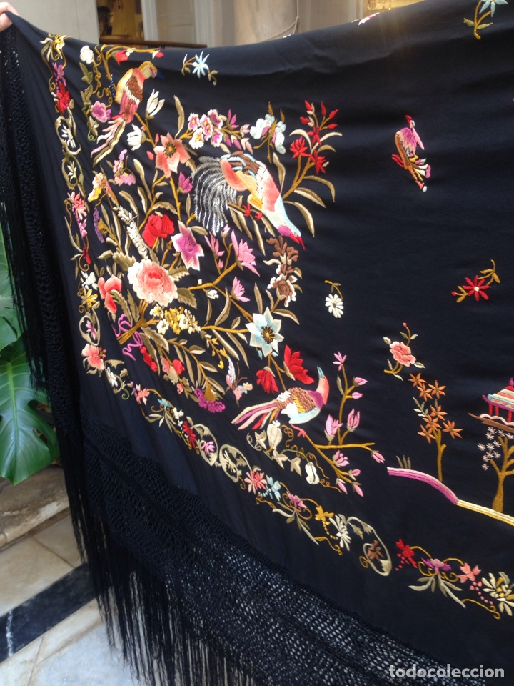 Manton de manila a os 30 art deco bordado a m comprar for Telas marfil malaga