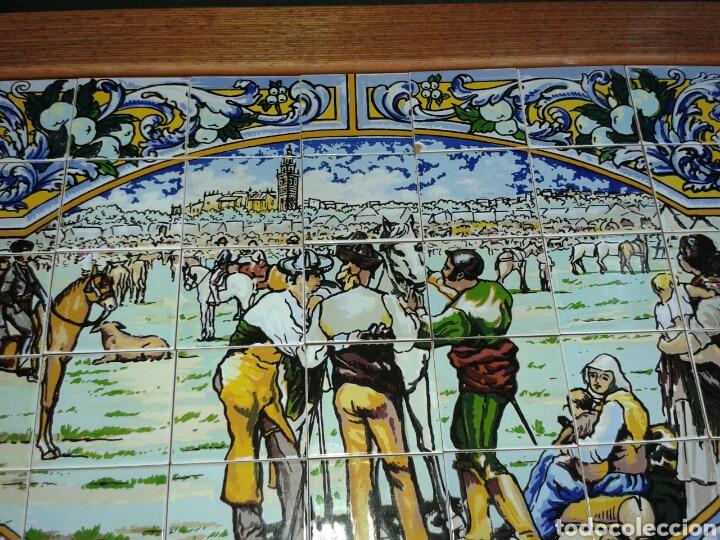 Antigüedades: BANDEJA AZULEJOS DE LA FERIA DEL GANAO - Foto 3 - 99442668