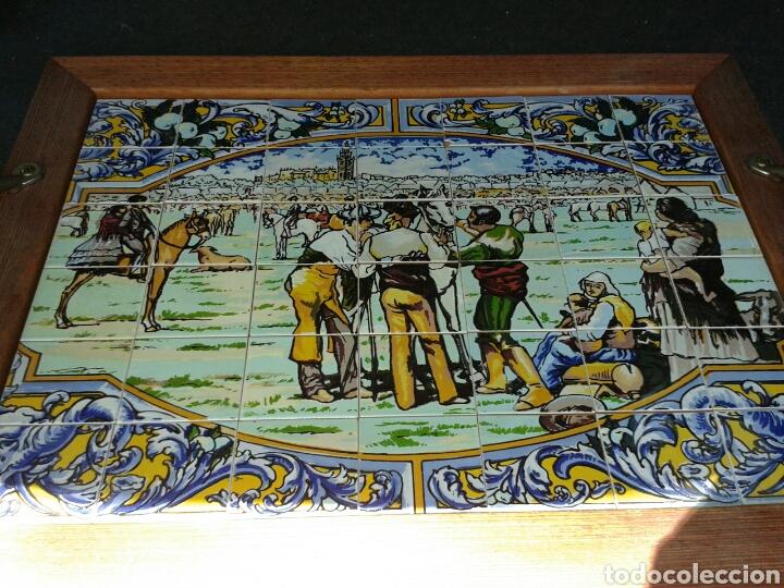 Antigüedades: BANDEJA AZULEJOS DE LA FERIA DEL GANAO - Foto 4 - 99442668