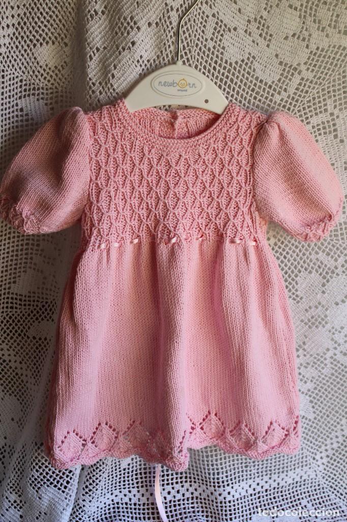 786bfc121 Antigüedades: Vestido artesanal de algodón para bebé niña o muñeca, textura  punto de lana