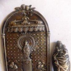 Antiques - Pequeño retablo en chapa de la Virgen del Pilar y figura de la imagen en plata. - 99484871