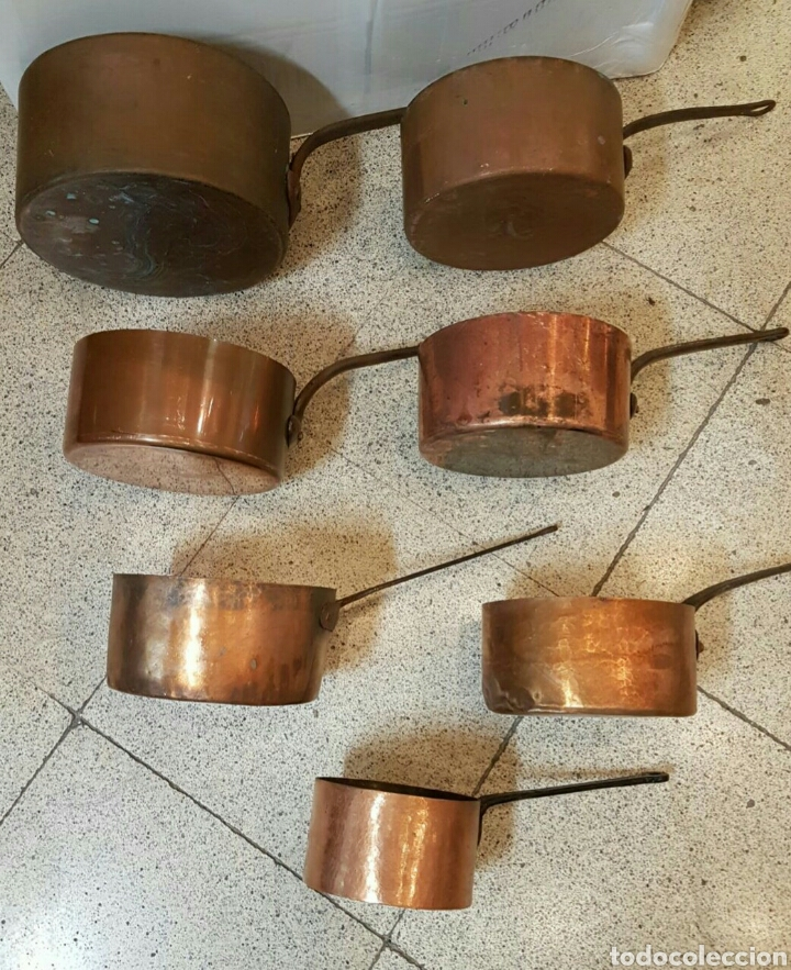 JUEGO DE CAZOS DE COCINA EN COBRE S.XIX (Antigüedades - Varios)