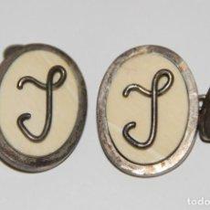 Antigüedades: GEMELOS. PLATA Y MARFIL. CON INICIALES L O J. ESPAÑA. AÑOS 30. Lote 99518819
