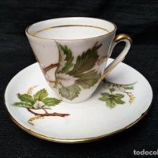 Antigüedades: TAZA DE CAFÉ CON PLATO DE PORCELANA DE LIMOGES.. Lote 33747031