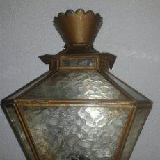 Antigüedades: ANTIGUO APLIQUE O LÁMPARA DE LATÓN Y CRISTAL PRINCIPIOS DE SIGLO XX 34 CM ALTO 23 ANCHO. Lote 99536122
