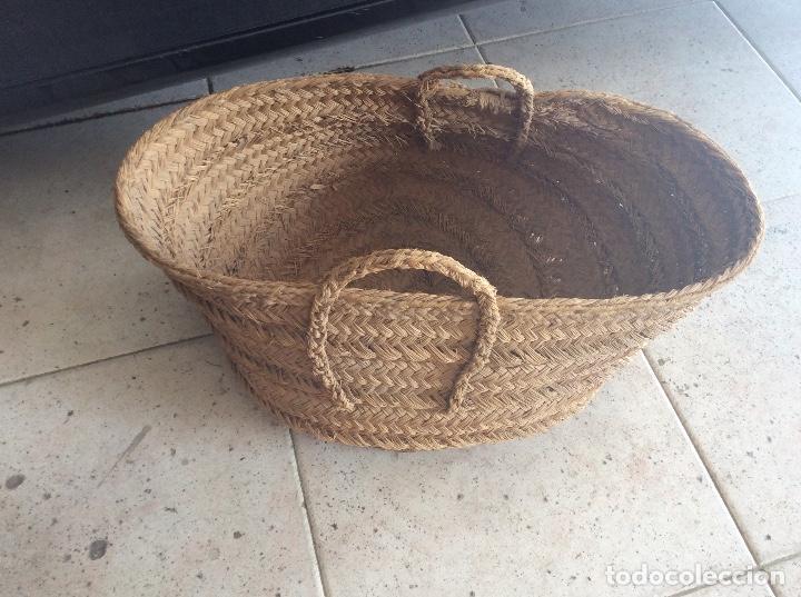 Antigüedades: Antigua espuerta, capazo, capacho de esparto grande 33cm alto y 50cm diámetro - Foto 2 - 99539679