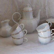 Antigüedades: JUEGO CAFÉ 12 SERVICIOS CERÁMICA SANTA CLARA. Lote 99556115