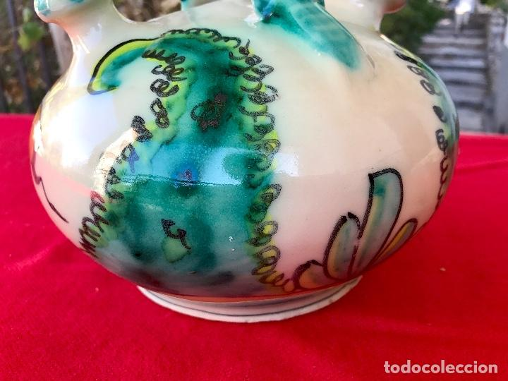 Antigüedades: Botijo de cerámica puente del arzobispo DeL mazo motivos ciervo caza 21x21 aproximadamente - Foto 4 - 99579483