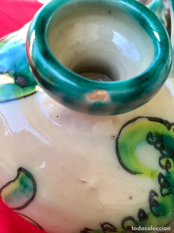 Antigüedades: Botijo de cerámica puente del arzobispo DeL mazo motivos ciervo caza 21x21 aproximadamente - Foto 9 - 99579483