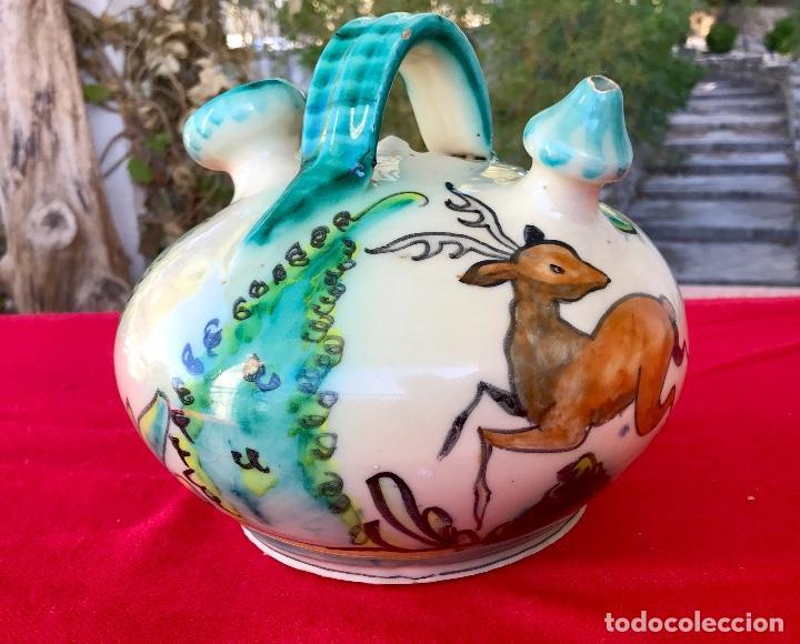 Antigüedades: Botijo de cerámica puente del arzobispo DeL mazo motivos ciervo caza 21x21 aproximadamente - Foto 14 - 99579483
