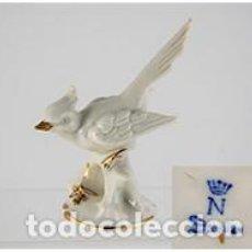 Antigüedades: FIGURA DE PAJARO AÑOS 60 / DRESDEN / ALEMANIA / SELLO EN LA BASE. Lote 99632571