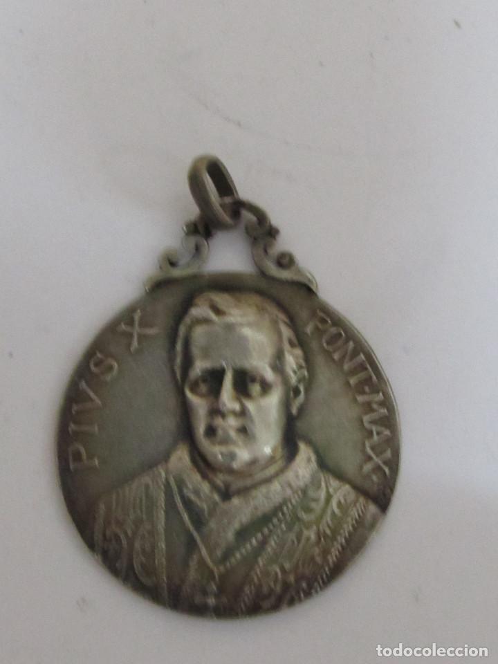 MEDALLA DE PLATA - PIVS X PONT MAX (Antigüedades - Religiosas - Medallas Antiguas)