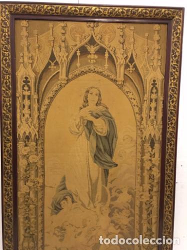 Antigüedades: TAPIZ DE LA VIRGEN INMACULADA DEL SIGLO XIX - Foto 4 - 99672003