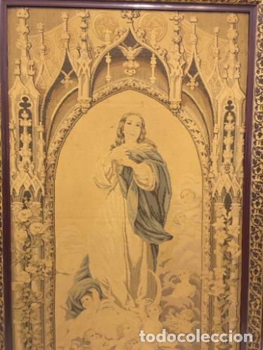 Antigüedades: TAPIZ DE LA VIRGEN INMACULADA DEL SIGLO XIX - Foto 5 - 99672003