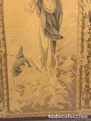 Antigüedades: TAPIZ DE LA VIRGEN INMACULADA DEL SIGLO XIX - Foto 6 - 99672003