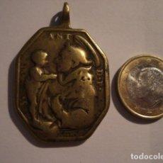 Antigüedades: EXCELENTE Y GRANDE MEDALLA SANTA BARBARA Y SAN ANTONIO DE PADUA SIGLO XVII - MIRA OTRAS. Lote 99695839