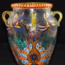 Antigüedades: BONITO JARRON EN CRISTAL PINTADO A MANO. FIRMA ILEGIBLE. AÑOS 40. Lote 99713095