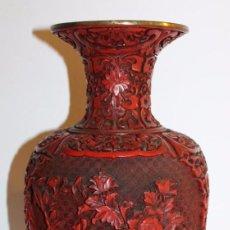 Antiquités: JARRÓN CON DECORACIÓN DE LACA CHINA. ALTURA 31.5 CM. PESO 1452 GRAMOS. Lote 130832164