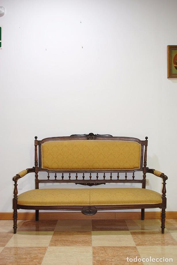SOFÁ ANTIGUO, S.XIX EN MADERA DE ROBLE (Antigüedades - Muebles Antiguos - Sofás Antiguos)