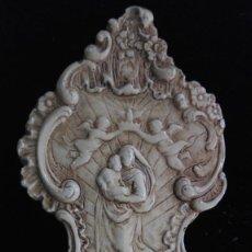 Antigüedades: BENDITERA VIRGEN CON NIÑO CORONADA POR ANGELES.MEDIDAS APROX. 22 X 10 CM. Lote 99725275