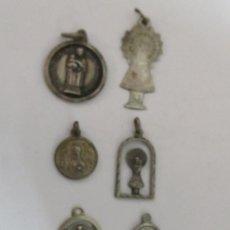 Antigüedades: 6 MEDALLAS DE PLATA PEQUEÑAS CON MOTIVO RELIGIOSO. Lote 99734135