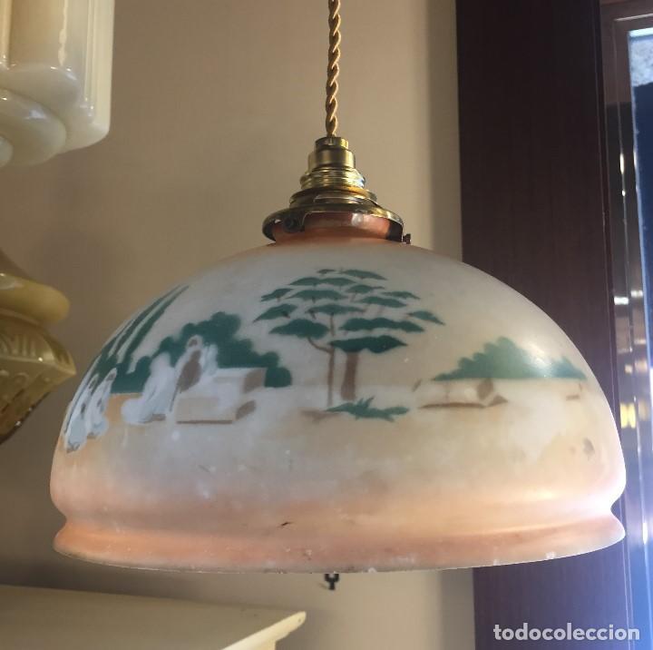L mpara de techo opalina pintada a mano comprar l mparas - Lamparas techo segunda mano ...