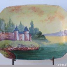 Antigüedades: ANTIGUA BANDEJA DE PORCELANA DE LIMOGES PINTADA A MANO 41 X 29 CM.. Lote 99768835