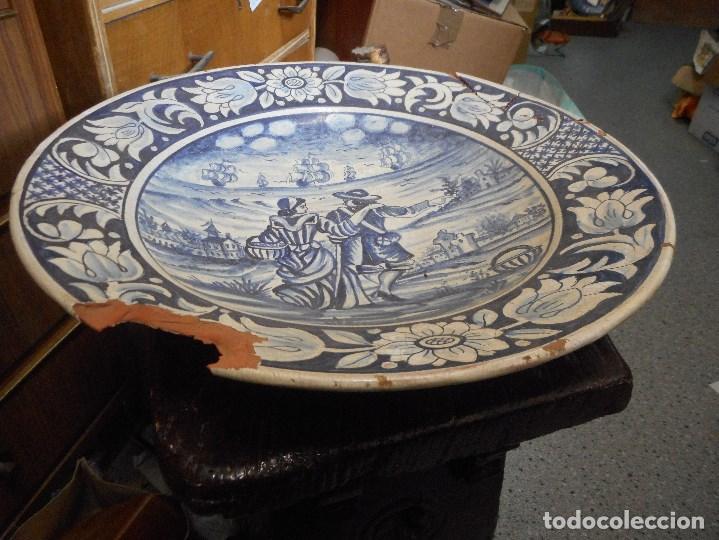 Antigüedades: gran plato fuente ceramica catalana catalan - Foto 3 - 99778259