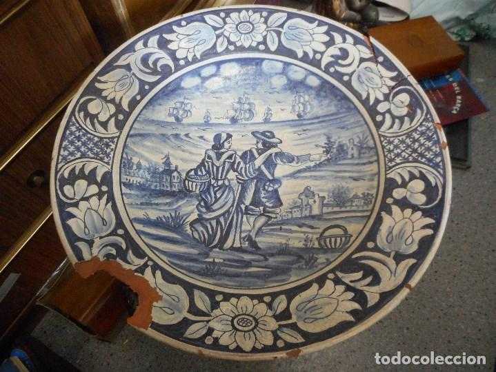 Antigüedades: gran plato fuente ceramica catalana catalan - Foto 4 - 99778259