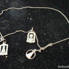 Antigüedades: CADENA CON CIERRE DE 48 CM CON MEDALLITAS DE VIRGENES Y UNA DE AÑO SANTO COMPOSTELANO 1954. Lote 99793115