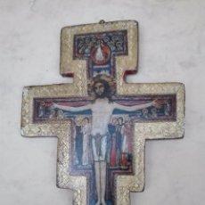 Antigüedades: CRUCIFIJO, CRUZ, CRISTO, JESUCRISTO - LAMINA SOBRE TABLA PINTADA - 142 X 105 X 6 MM.. Lote 99843271