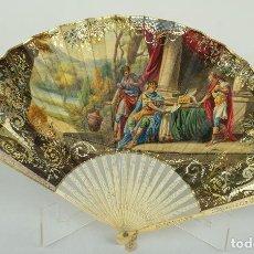 Oggetti Antichi: ABANICO VARILLAJE EN MARFIL CALADO PAÍS EN PAPEL PINTADO A MANO ESCENA ROMANA SIGLO XVIII. Lote 99850591