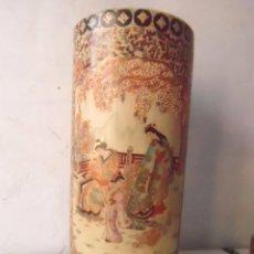 Antigüedades: PARAGUERO BASTONERO CERÁMICA SATSUMA EXCELENTE ACABADO. Lote 99867111