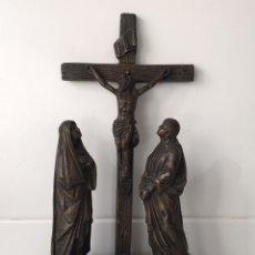 Antigüedades: ANTIGUO CALVARIO CON FIGURAS DE CALAMINA. Lote 99871883