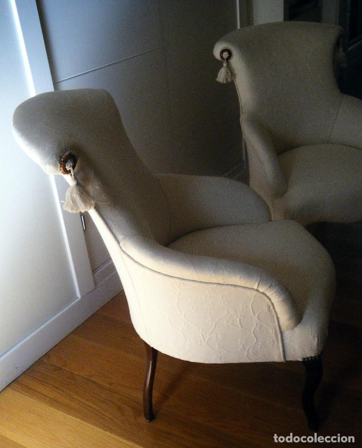 Antigüedades: Pareja de Butacas, sillones, descalzadoras isabelinas - Foto 2 - 99904307