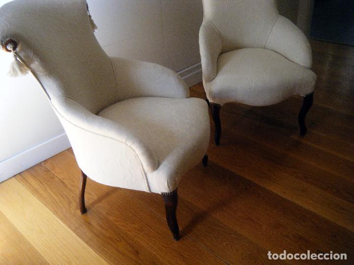 Antigüedades: Pareja de Butacas, sillones, descalzadoras isabelinas - Foto 5 - 99904307
