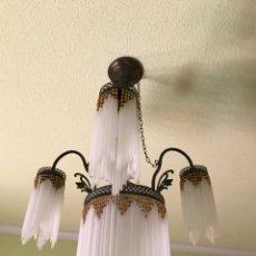 Antigüedades: LAMPARA TULIPAS CRISTAL. Lote 99958034