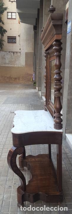 Antigüedades: CONJUNTO DE CONSOLA Y ESPEJO ESTILO IMPERIO. NOGAL CON MARQUETERIA DE BOJ. ESPAÑA. SIGLO XIX. - Foto 12 - 100028883