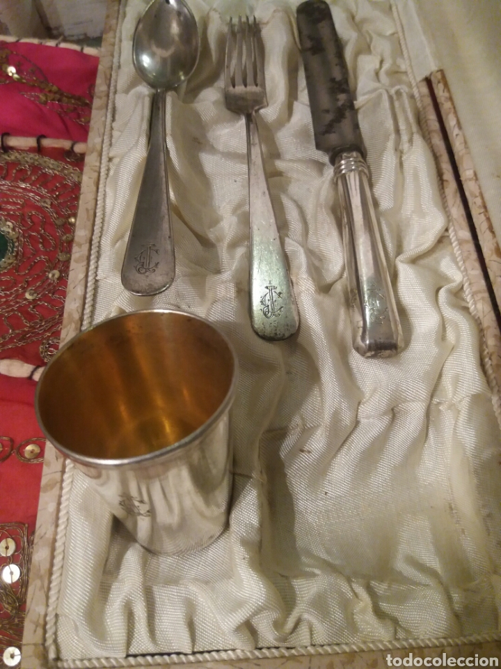 Antigüedades: JUEGO DE CUBIERTOS DE PLATA CON VASITO - Foto 5 - 100086407