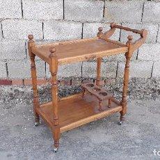 Antigüedades: CAMARERA ANTIGUA DE MADERA RETRO VINTAGE CARRITO DE SERVIR CARRO LICORERA MUEBLE BAR ANTIGUO RÚSTICO. Lote 100104603