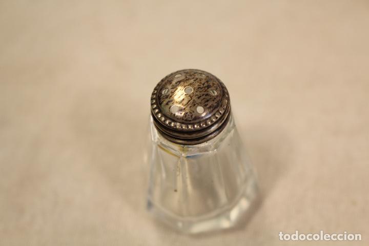Antigüedades: pareja de saleros en plata de ley - Foto 4 - 100119163