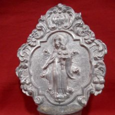 Antigüedades: ANTIGUA BENDITERA VIRGEN CON NIÑO EN.ALUMINIO FUNDIDO - PPOS SIGLO XX -. Lote 100138311