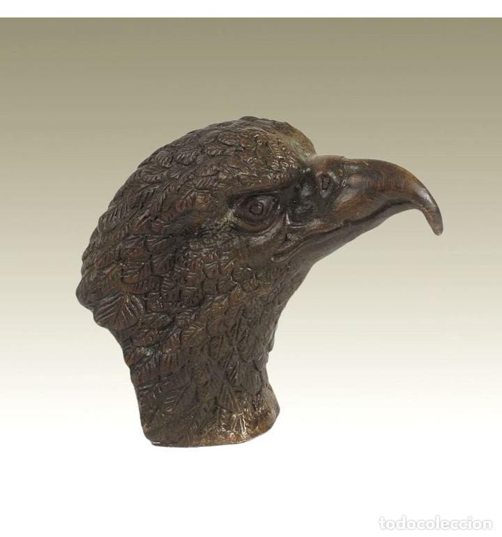 Antigüedades: Esculturas. Escultura artesanal en bronce a la cera perdida Cabeza de águila - Foto 2 - 276845343