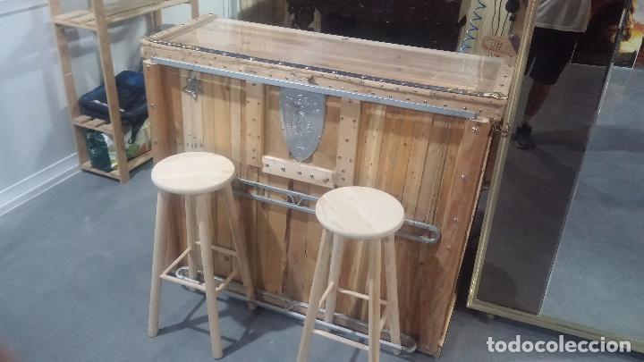 Barra de bar o mostrador de madera rustico con comprar - Como hacer una barra con palets ...