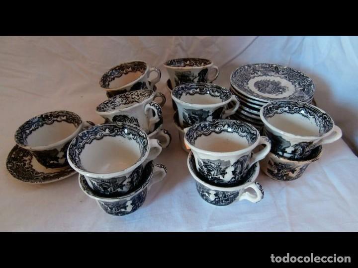 JUEGO DE TAZAS CERÁMICA LA CARTUJA (Antigüedades - Porcelanas y Cerámicas - La Cartuja Pickman)