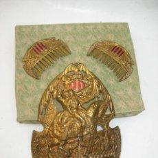 Antigüedades: FANTASTICAS PEINETAS ANTIGUAS FALLERA FALLAS VALENCIA LATON DORADO Y ESMALTE. Lote 100198235