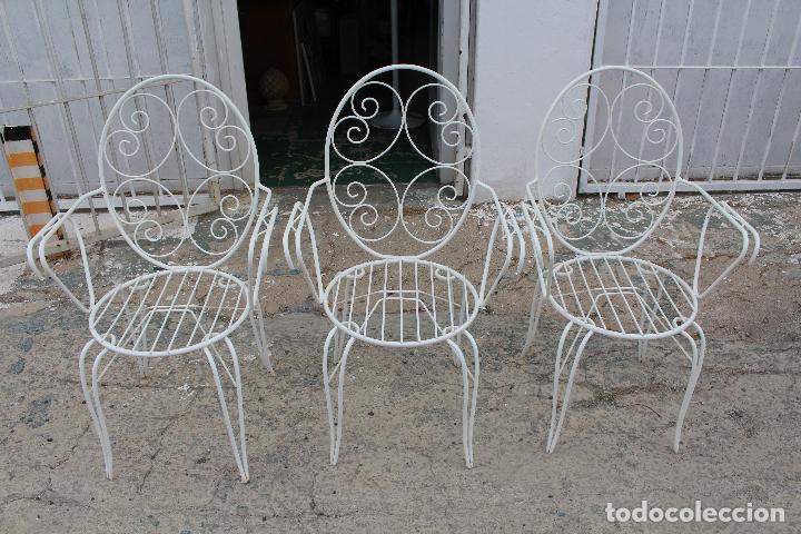 3 sillones sillas de jardin en hierro hueco pi comprar for Sillas hierro jardin