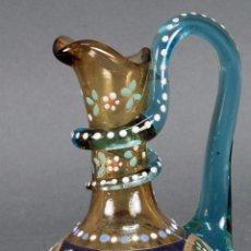Antigüedades: JARRA DE CRISTAL VENECIANO SOPLADO DECORACIÓN CON ESMALTES DE COLORES HACIA 1900. Lote 100283075