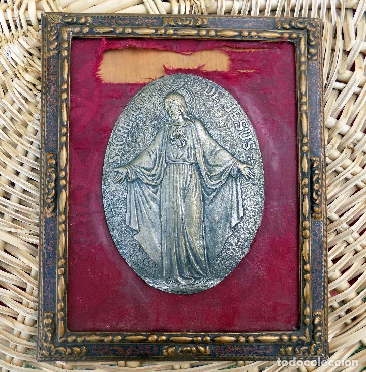 sagrado corazon de jesus, laton, enmarcado de e - Comprar ...